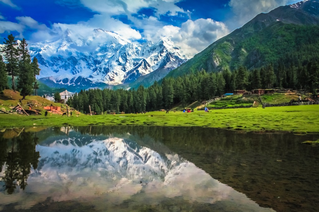Nangaparbat Reflection in a near by Pond at Fairy Meadows